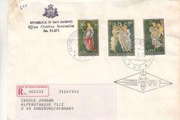 Saint Marin - Lettre Recom FDC De 1972 ° - Oblit Rép Di San Marino - Peinture - Botticelli - Lettres & Documents