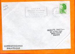 SAONE ET LOIRE, Chalon Sur Saône, Flamme à Texte, Congrès National UNSOR, 12-13-14 Mai 1989 - Marcophilie (Lettres)