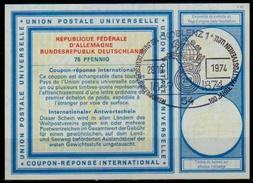 100 YEARS UPU / WELTPOSTVEREIN / Briefmarken Int. Reply Coupon Reponse Antwortschein IRC IAS O KOBLENZ 29.10.1974 - U.P.U.