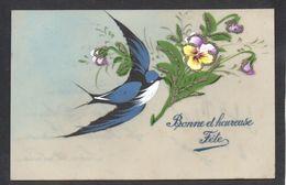 CPA FANTAISIE CELLULOID CELLULOIDE PAILLETTES ARGENT - Peinte à La Main - Bel Oiseau Hirondelle Vol Fleurs Bec - #501 - Other