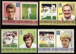 ST VINCENT Cricket, Yvert N° 796/03 ** MNH. Joueurs Célèbres: Taylor, Graveney, Wiollis, Fletcher - Cricket