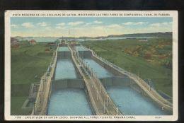 B3586 PANAMA CANAL - LATEST VIEW OF GATUN LOCKS - Panama