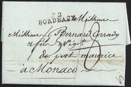 """1792. BORDEAUX TO MONACO. PMK """"32/BORDEAUX"""" IN BLACK. RATED """"18"""" RECTIFIED TO """"13"""". VERY FINE AND INTERESTING COVER. - Monaco"""