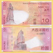 Macau Macao 10 Patacas P-80b 2010 BNU Banco Nacional Ultramarino UNC - Macao