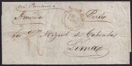 """1855 (3 NOV). MADRID A LIMA. CARTA ENCAMINADA POR """"C. DE MURRIETA Y CA/LONDRES"""" Y CIRCULADA POR VÍA INGLESA. INTERESANTE - Peru"""