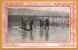 Souvenir Des Inondations - Paris 1910 - Chocolat LOMBART - Pompiers - Le Boulevard De Bercy - Uniforme - Imp BOUQUET - Sapeurs-Pompiers