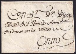 1810. CHIMASI AL ADMINISTRADOR DE CORREOS DE ORURO. SIN MARCAS POSTALES POR DIRIGIRSE A UN CARGO EXENTO. MUY INTERESANTE - Perú