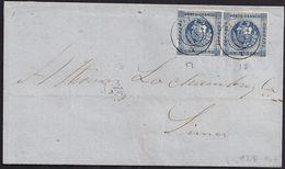 1862. PIURA TO LIMA. 1 DINERO BLUE, HORIZONTAL PAIR. CDS. VERY FINE. - Perú