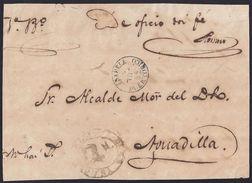 """1865. PUERTO RICO. ISABELA A AGUADILLA. FECHADOR Y MANUSCRITO """"NO HAY SELLOS. RARO FRONTAL. - Central America"""