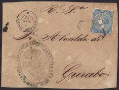 1868. PUERTO RICO A GURABO. 10 CTS. MAT. PARRILLA COLONIAL.FECHADOR Y MARCA DE LA CAPITANIA GENERAL. INTERESANTE FRONTAL - Central America