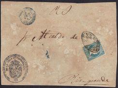 """1869. SAN JUAN DE PUERTO RICO A RIO GRANDE. MAT. PARRILLA COLONIAL Y """"1/2"""" REAL EN AZUL EN EL FRENTE. BONITO FRONTAL. - Central America"""