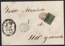 1858. COVER FRONT FROM SAN JUAN DE PUERTO RICO TO RIO GRANDE. 1R GREEN. COLONIAL GRILL. VERY FINE. - Central America