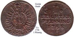 DL-1758, 1 Pfennig, Goslar - [ 1] …-1871 : Stati Tedeschi