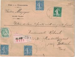 GARD - ALAIS - LETTRE RCOMMANDEE ET CHARGEE ENTETE GASTON MAZOYER VINS A LA COMMISSION - AFFRANCHISSEMENT 3F15 - (P1) - Postmark Collection (Covers)