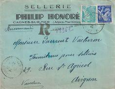 ALPES MARITIMES - CAGNES SUR MER - RECOMMANDEE PROVISOIRE LE 24-2-1943 - ENVELOPPE ENTETE SELLERIE PHILIP HONORE - (P1) - Postmark Collection (Covers)