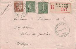 ORNE - MORTAGNE AU PERCHE - 16-9-1935 - LETTRE RECOMMANDEE AFFRANCHISSEMENT A 1F75 - (P1) - Postmark Collection (Covers)