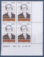 = Coin Daté 01.09.17 TD 202 5185992 Bas De Feuille Marie Boulanger 0.85€ X4 N°5169 - Hoekdatums