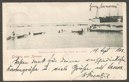 """Grüsse Aus Samoa. Eingeborene Fischend Und Das Wrack Des """"Adler"""". Ansichtskarte Aus 1902 Aus Deutscher Zeit. - Samoa"""