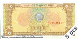 TWN - CAMBODIA 28a - 1 Riel 1979 DEALERS LOT X 5 UNC - Cambodia