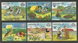 Grenada 1988 Sydpex Disney Mickey Cartoon Animation Animals Fauna Kangaroo Birds Ostriches Stamps (12) MNH SG 998-1005 - Stamps