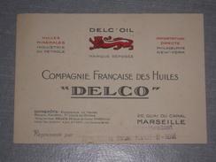 Carte De Visite Pub DELC'OIL Compagnie Française Des Huiles DELCO - Marseille - TBE - 1920s - Pétrole - Visiting Cards