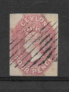 CEYLON YEAR 1859 4d DULL ROSE WATERMARK LARGE STAR IMPERFORATE(S.GIBBONS 4) YVERT TELLIER NR. 3 AVEC CERTIFICATION D'EXP - Ceylon (...-1947)