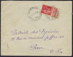 "Coarraze (Basses Pyrénées) : Cachet A5 (horoplan) Paix 50 C. IIA, Avec Bande Pub ""Calvados Du Père Magloire"", 1934. - Poststempel (Briefe)"