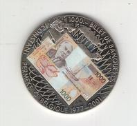 """Médaille """"Billets De Banque Belges"""" Avec Certificat De Garantie N°00481. Belgique 1977-2001, Elle Est FDC - Monétaires / De Nécessité"""