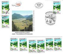 1501z2: Österreich 1988, Tauernautobahnbrücke, FDC 5542 Flachau Und Gesamt 6mal **/o, Plus Mustermarke - Brücken
