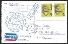 1981 Paquebot Marking, Sisny, British Antarctic Territory, Singapore Stamps On Picture Postcard - British Antarctic Territory  (BAT)
