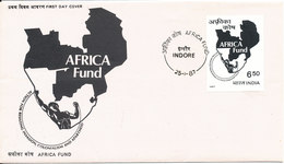 India FDC Indore 25-1-1987 Africa Fund With Cachet - FDC