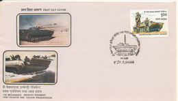 India FDC Indore 24-2-1988 The Mechanised Infantery Regiment First Reunion And Colour Presentation With Cachet - FDC