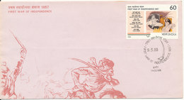 India FDC Indore 9-5-1988 First War Of Independence With Cachet - FDC