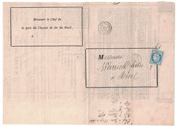 1872 - LETTRE D'AVIS De Mr LE CHEF De La GARE Du CHEMIN DE FER Du NORD (STATION PARIS) ARRIVÉE COLIS POSTAL CERES 60 - Marcophilie (Lettres)
