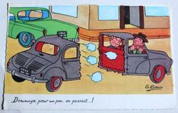 CPSM Illustrateur G. GOUX Humour Voiture Autombile Accident - Illustrateurs & Photographes