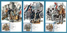 """DDR 3 Halbamtl. Maximumkarten Mi-Nr. 3258/60 ESSt. BERLIN 4.7.89 """"200.Jahrestag Der Französischen Revolution"""" - DDR"""