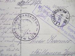 "LUXEMBOURG CAD K. D FELDPOSTATION - 18 06 -1915 + CAHET : LINIEN - KOMMANDANTUR - LUX - +  MÜLHAUSEN P.K ."" TRES  RARE "" - Luxemburg - Town"