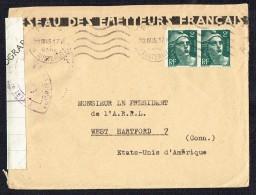 1945 Lettre Pour Les USA  Très Rare Ruban De Censure Française «Photographies» - Marcophilie (Lettres)