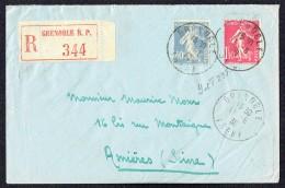1930  Lettre Recommandée De Grenoble Pour Asnières  Semeuse Yv 237, 238 - Storia Postale