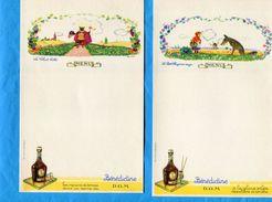 """4-MENUS-2 """"Illustrés BENEDICTINE""""'chat Botté+Petit Chaperon Rouge+2 MARTNI-années 20-30 - Menus"""