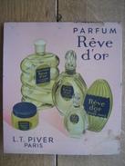 Originale Ancienne  Plaque Publicitaire En Tôle L.T. PIVER Paris - Parfum REVE D'OR - 21 X 27 Cm - Lotion, Brillantine - Placas De Cartón