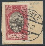 1921 LIECHTENSTEIN USATO VEDUTE 25 R ANNULLO ESCHEN - R18-5 - Oblitérés