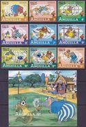 Soccer Football Anguilla #501/9 + Bl 45 1982 World Cup Spain MNH ** Disney - 1982 – Espagne