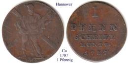 DL-1787, 1 Pfennig, Hannover - Piccole Monete & Altre Suddivisioni