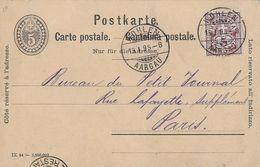 HEIMAT AARGAU - 1895 Postkarte Von WOHLEN Nach Paris - Ganzsachen