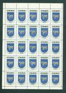 Faro Islands. Poster Stamp 1940/42. Full Sheet Mnh,Folded. Ram.Coats Of Arms - Faroe Islands