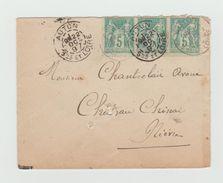 LSC 1897- SAGE 5C VERT  X3 - CACHET AUTUN - LSC Pour CHATEAU CHINON - Postmark Collection (Covers)