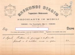 """07106 """"TAPPEZZIERE MATERASSAIO - RAIMONDI BIAGIO - TORINO"""" DOC. SU CARTA INTESTATA ORIGIN. 190.? - Italia"""