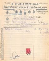 """07113 """"PRODOTTI ALIMENTARI  - P.A.I.S.S.A. - TORINO"""" DOC. SU CARTA INTESTATA ORIGIN. 1936 - Italia"""
