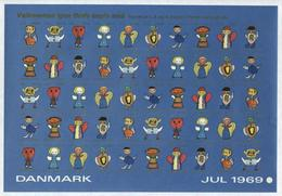 Denmark. Christmas Seals 1969 Sheet MNH Imperforated. Angels. Childrens Drawings - Unclassified
